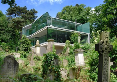 An amazing home that floats above a cemetery